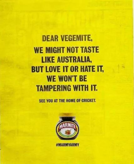 Marmite Ashes ad